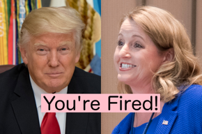 Photos of President Trump and Suzie Kent with You're Fired!