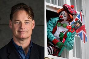 Photos of Allan Thomson and a British clown.