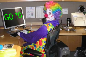 Bad programming climate scientist clown.