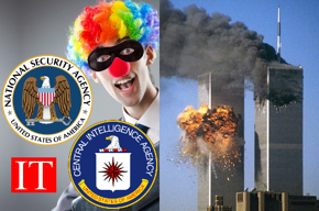 NSA seal, CIA seal, IT, clown, airliners crashing into World Trade Center towers.