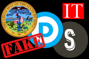 State of Iowa seal, Democratic Party logo, Shadow Inc logo, Fake, IT.